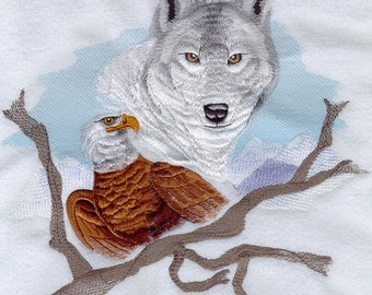 Wolf and Eagle Embroidery Design