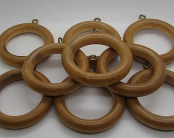 Wooden Curtain Rings  Drapes Curtain Rod Rings Window Drapery Wood Rings Metal Hook Mid Century Light Brown Urban Cabin Cottage Lot Of 9