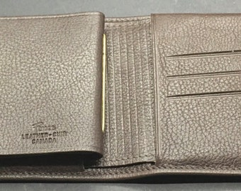 Vintage Brown Leather Wallet Ferree Made In Canada Bifold ID License Business Cards Credit Card Stocking Stuffer