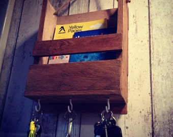 Handmade Rustic Post Rack and Key Holder Made From Reclaimed Pallet Wood