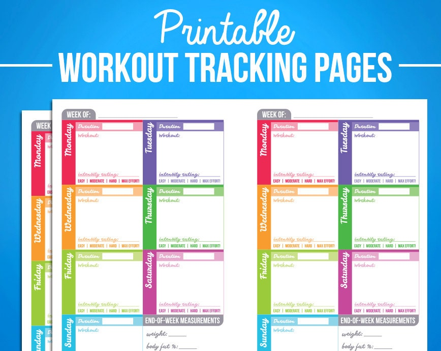 Printable Workout Fitness Trackers Planner Journal Diary Pages