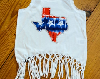 All American Texas State Fringe Toddler & Girls Tank Top