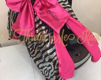 LUX| Zebra Sequin Car Seat Canopy