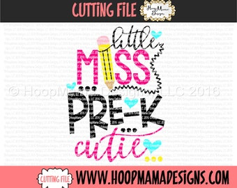 Little Miss Pre K Cutie SVG DFX EPS and png Files for Cutting Machines Cameo or Cricut Kindergarten Back to School First Day Of School