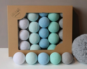 Cotton Balls Mint Pastel 10 items