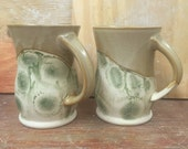 Set of 2 Handmade Pottery Mugs in Variegated Tan with Mocha Diffusion 16 oz