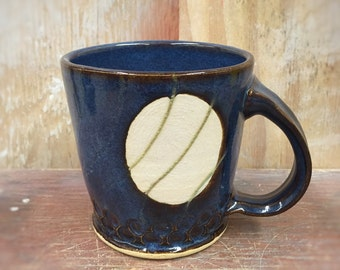 Polked Pottery Mug in Floating  Blue with White Engobe 18 oz