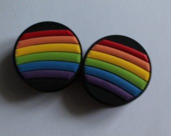 """30mm (1 & 1/8"""") rainbow silicon double flared plugs"""