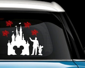 Disney Castle With Partner Statue and Fireworks - Disney Car Decal - Disney Decal - Disney Castle - Partners Statue