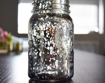 Fantado Regular Mouth Silver Mercury Glass Mason Jar, 16oz - RMJMC-SV