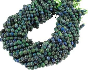 15 IN Strand 6 mm Azurite Round Smooth Gemstone Beads (AZR100102)