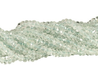 14 IN Strand 3.5-4 mm Aquamarine Rondelle Faceted Gemstone Beads (AQ100131)
