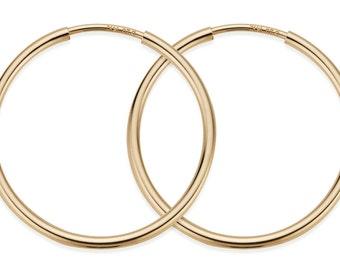 1 Pair, 2 Pcs 30 mm 14K Gold Filled Hoop Earrings (GF4003805)