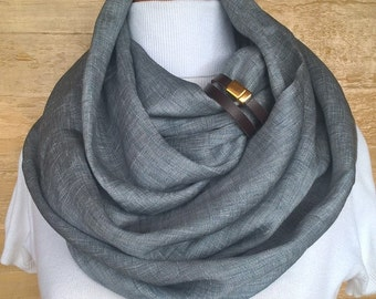 Linen with silk scarf, Linen Infinity Scarf, Chunky Scarf, Natural Linen, Dark Gray. brown leather cuff.