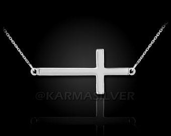 Silver Sideways Cross Necklace .925 Solid Sterling Silver Sideways Cross Necklace