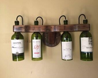 Wine Bottle Sconce, Upcycled bottle lights,
