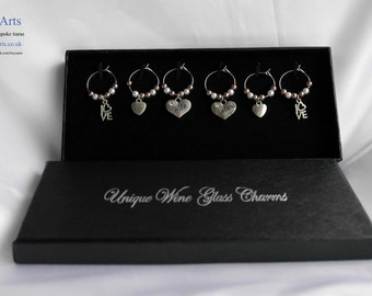 Wine Glass Charms 'Husband' and 'Wife' Cappuccino and white  Glass pearls - Box set of 6