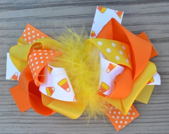White candy corn boutique bow