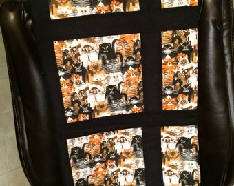 cat quilt, blanket, boy or girl, handmade