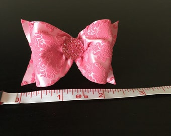 Pink damask dog bow