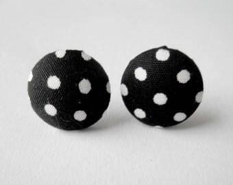 White Polka Dot Stud Earrings