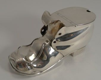 Rare Antique English Silver Plated Novelty Shoe Spoon Warmer c.1880