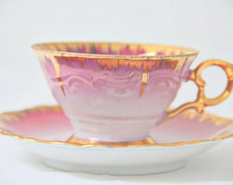 RESERVED FOR QI Vintage Eigl Porcelain Demitasse Cup and Saucer, Gradient Pink, Linz Townhall Decor, Made in Austria