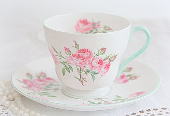 Vintage Shelley Bone China Cup and Saucer, England, Pink Rose Decor
