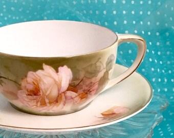 Antique Teacup, Vintage Tea Cup, Germany, Hand Painted Porcelain