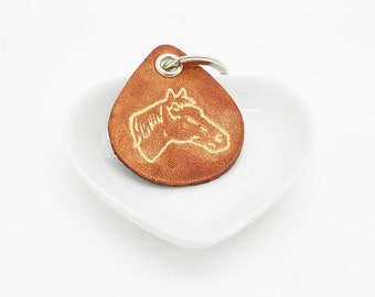 horse brown leather keychain