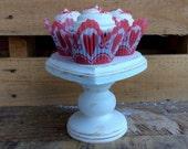 Cake Stand. Cupcake Stand. Wood Pedestal Pillar Stand. Candle Holder. Treat Stand. Valentine Centerpiece. Wedding Centerpiece. Photo Prop.