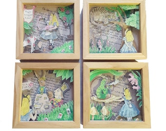 Alice's Adventure in Wonderland Full Set of 4 Hand-Drawn Watercolour 3D Box Frames. Tea Party, Croquet, Cheshire Cat and Caterpillar.