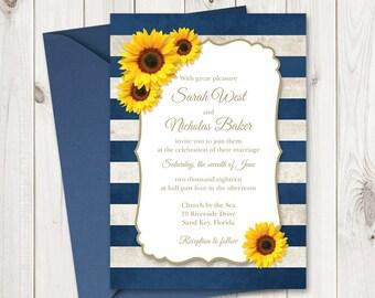 Sunflower wedding etsy sunflower wedding invitation printable template with navy blue stripes vintage wedding invitations rustic wedding junglespirit Gallery