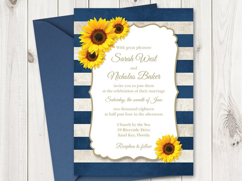 Print Out Wedding Invitations: Sunflower Wedding Invitation Printable Template With Navy Blue