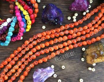 """Orange howlite skull beads, 16"""" strand, beads in bulk, Halloween beads, skeleton beads, wholesale beads, #SKB-005"""