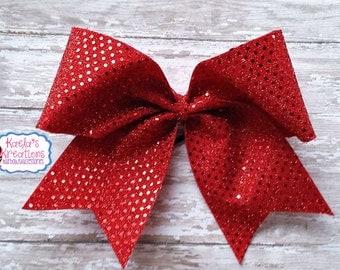 Red Cheer Bows, Red Cheer Hair Bows, Red Bling Cheer Bows, Big Cheer Hair Bows, Red Hair Bows, Cheer Hair Bows.