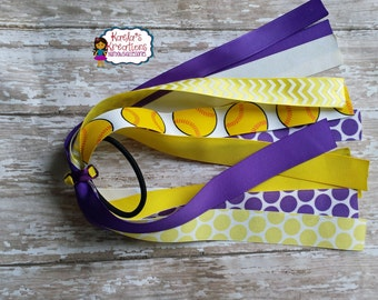 Purple and Yellow Softball Ponytail Streamers,Softball Ponytails Streamers,Softball Hair Ties,Yellow and Purple Softball Ponytail Streamers.