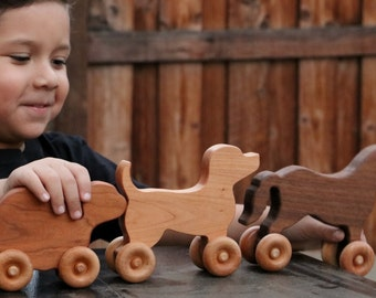 Wooden toy dog on wheels | personalized toy dog | engraved wooden toys | wooden toy animals