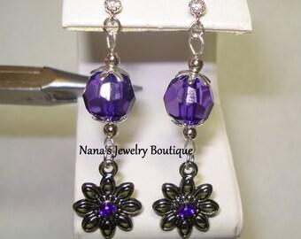 Purple Beaded Dangle Earrings with Flower
