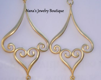 Matte Gold Plating Over Brass, Fancy Heart Dangle Earrings With 14k Plated Metal Bead