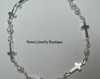 """Delicate Pearl & Cross Bracelet SSP, First Communion Bracelet 6"""""""