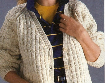 PATTERN, Full Figured knitted cardigan sweater pattern, for plus size women, vintage knitting pattern from the 1980s,