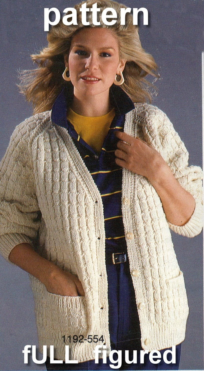 Pattern full figured knitted cardigan sweater pattern for plus this is a digital file bankloansurffo Gallery