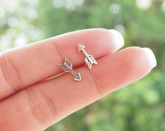 Tiny Arrow Stud, Arrow Earrings, 925 Sterling Silver, dainty jewelry, Delicate boho earrings, - SB54