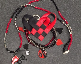 Harley Quinn Necklace, Bracelet, and Bow