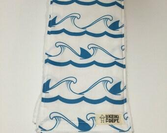 Burp Cloth, Spit Up Rag, Shark Waves