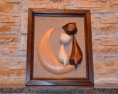 Funny animal decor,Wood painting, wood carving, decor for home, gift on a special occasion, wood art sculpture.