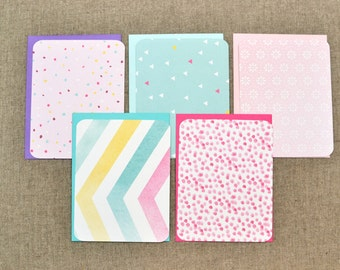 Colourful Note Cards - Set of Flat Note Cards - Colorful Note Cards  - Variety Set - Assorted Notecards - Assorted Note Cards - Fun Notecard