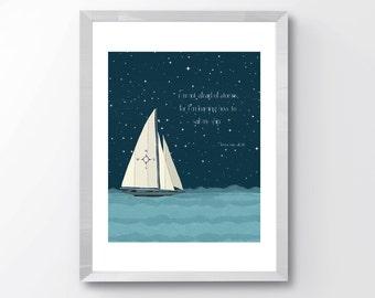 Nursery Sailboat Print, Nursery Print, Boys Sailboat Art, Sailboat Print, Starry Sky Boat print, Home Decor, boys room art, Wall Art, Decor
