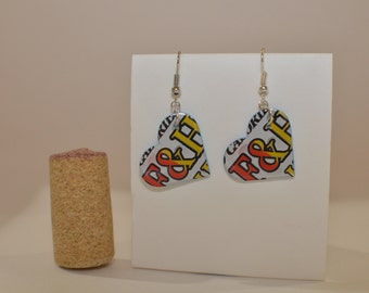 Ampersand Small Heart Earrings made from Arizona Iced Tea can